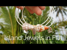 Load and play video in Gallery viewer, Custom Heart & Fiji Shell Bangle - 925 Sterling Silver FJD$