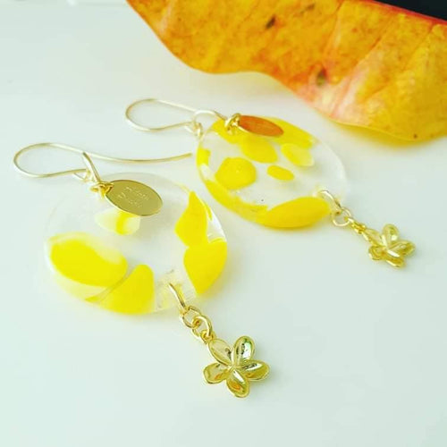 Adorn Pacific x Hot Glass Frangipani Charm Earrings in 14k Gold Filled - FJD$ - Adorn Pacific - Fiji Jewelry - Made in Fiji