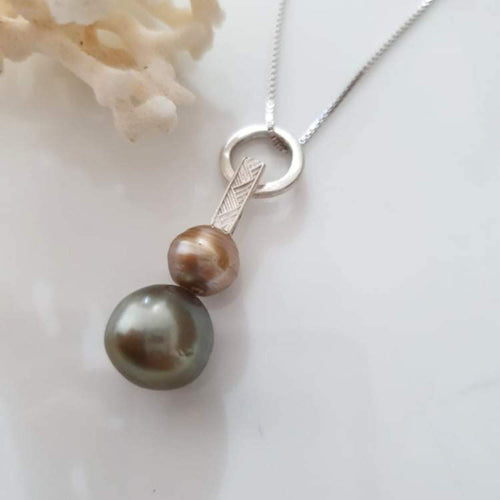 Fiji Saltwater Double Pearl Necklace with tapa detail -  925 Sterling Silver FJD$ - Adorn Pacific - Fiji Jewelry