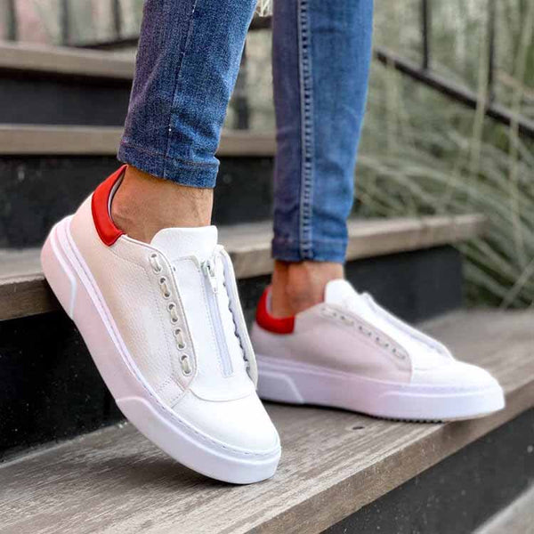 White-Red Flatline Sneakers