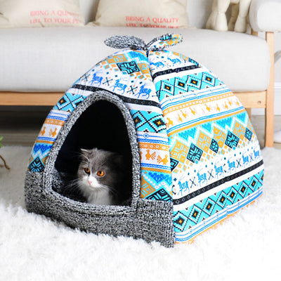 Fold-able Lovely Printing Cat Bed