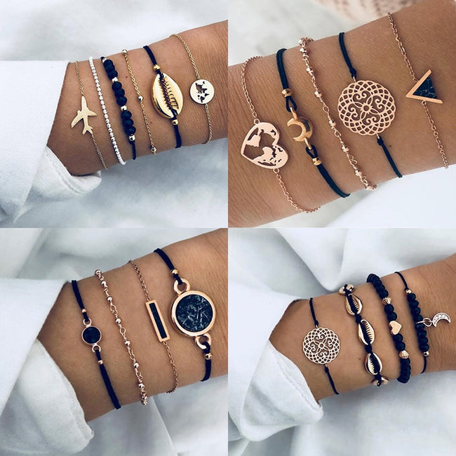 New Bohemian Black Rope Chain Bracelet Set For Women