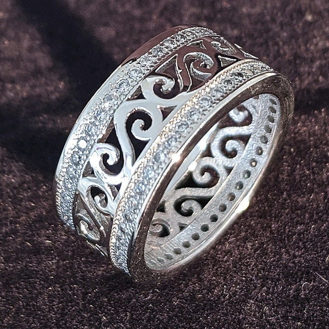 luxury 925 sterling silver wedding band eternity ring for women
