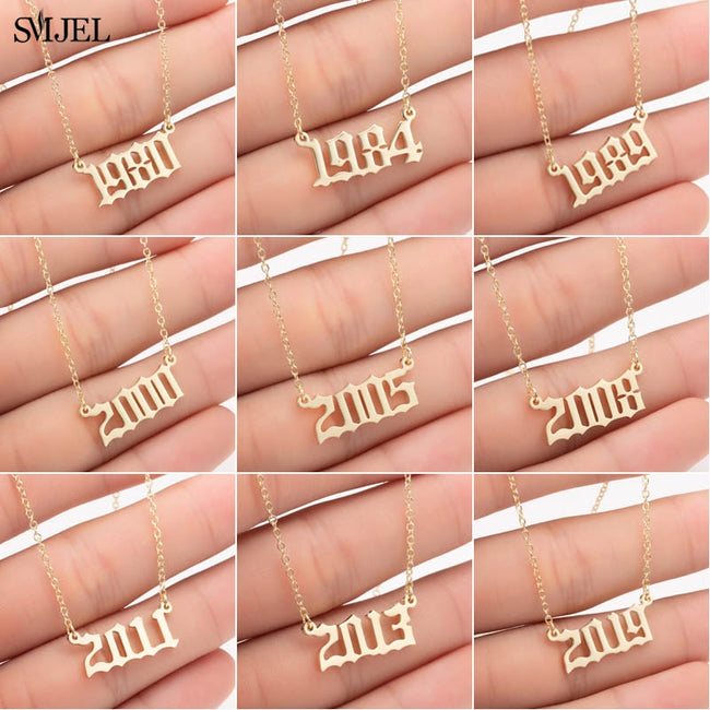 SMJEL Personalize Year Number Necklaces for Women