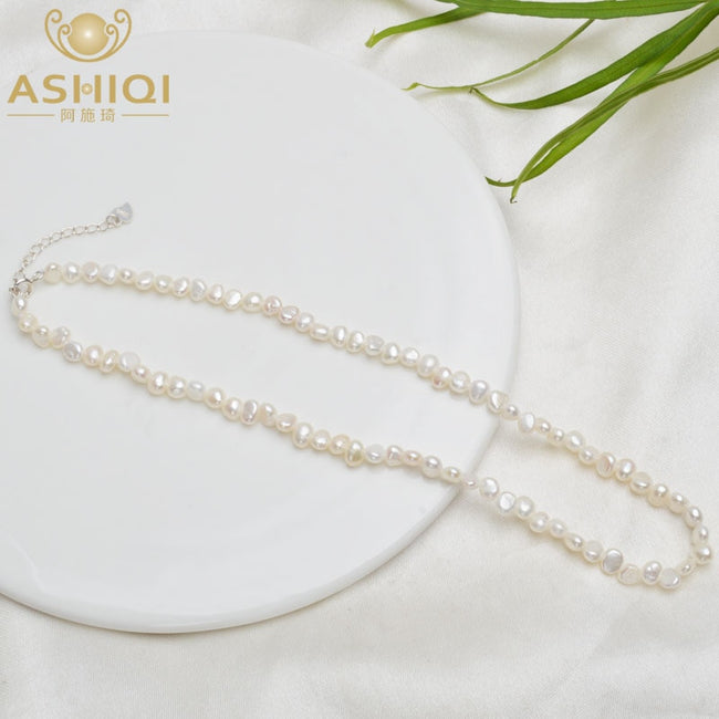 ASHIQI 4-5mm Natural Freshwater Pearl Choker Necklace