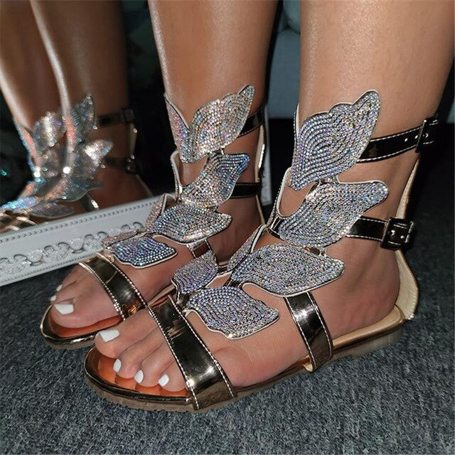 Fashion Flat crystals wing decoration Sandals