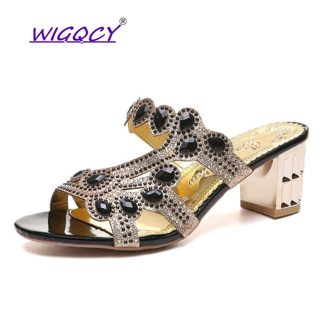 Fashion Crystal Sandals Thick High Heels