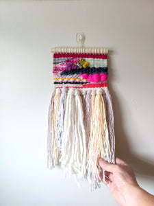 """Zara"" Fluffy Patchwork Woven Wall Hanging - Weaving"
