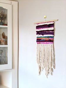 Purple Multicolor Woven Wall Hanging - Weaving
