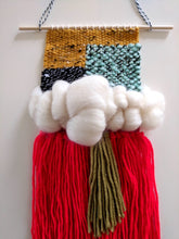 Load image into Gallery viewer, Red Fringe Woven Wall Hanging - Weaving - Wall Hanging - Fiber Art - Tapestry