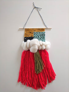 Red Fringe Woven Wall Hanging - Weaving - Wall Hanging - Fiber Art - Tapestry