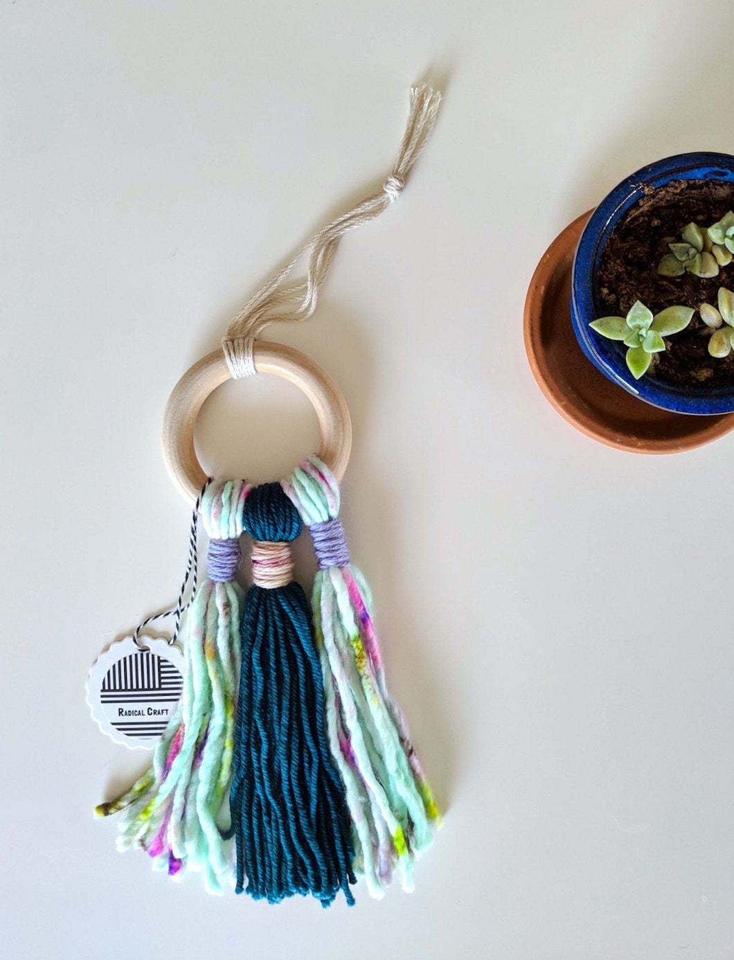 Green Tassels Wall Hanging - Hoop Weaving