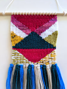 Geometric Pink and Green Wall Hanging - Weaving