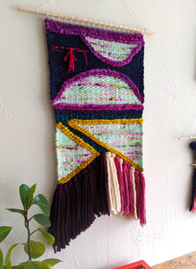 Figures in Purple Woven Wall Hanging - Weaving - Wall Hanging - Fiber Art - Tapestry