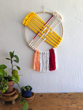 Load image into Gallery viewer, Pink and Yellow Hoop Weaving
