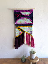 Load image into Gallery viewer, Figures in Purple Woven Wall Hanging - Weaving - Wall Hanging - Fiber Art - Tapestry