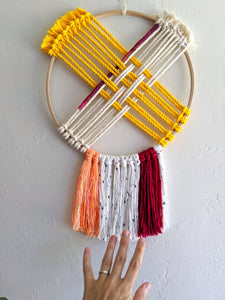 Pink and Yellow Hoop Weaving