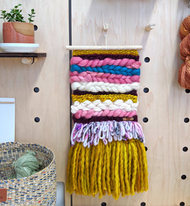 Pink and Yellow Chunky Woven Wall Hanging - Weaving - Fiber Art - Tapestry