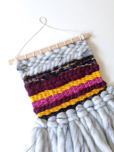 Fluffy Gray Mini Weaving - Woven Wall Hanging