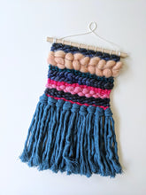 Load image into Gallery viewer, Blue + Pink Mini Weaving - Woven Wall Hanging