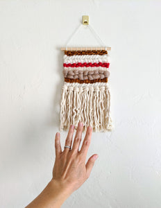 Cream + Gold Mini Weaving - Woven Wall Hanging