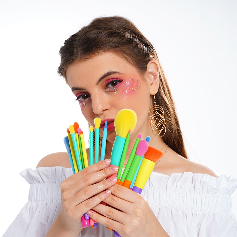 Professional 15pcs Colorful Makeup Brushes