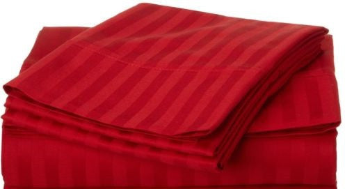 250 Thread Count Egyptian Cotton - Satin Stripe Scarlet