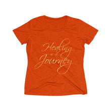 Load image into Gallery viewer, Healing is a Journey (Gold Lettering) Women's Heather Wicking Tee