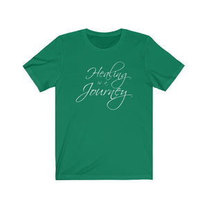 Healing is a Journey (White Lettering) Unisex Jersey Short Sleeve Tee