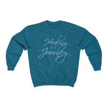 Load image into Gallery viewer, Healing is a Journey (White Lettering) Unisex Heavy Blend™ Crewneck Sweatshirt