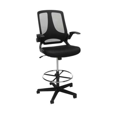 OFM Essentials Collection Mid Back Mesh Drafting Chair, Drafting Stool, Flip Arms (ESS-3046)