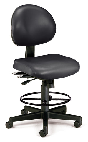 OFM 241-VAM-DK 24 Hour Ergonomic Armless Task Chair with Drafting Kit, Antimicrobial Vinyl, Mid Back