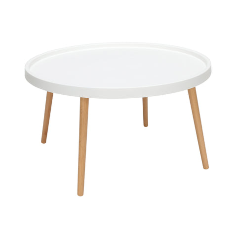 OFM 161 Collection Mid Century Modern Plastic Coffee Table, Solid Wood Legs (161-PCTA)