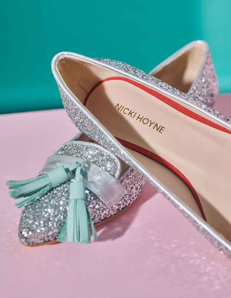 Nicki Hoyne Collection Silver Glitter Shoes With Mint Tassel