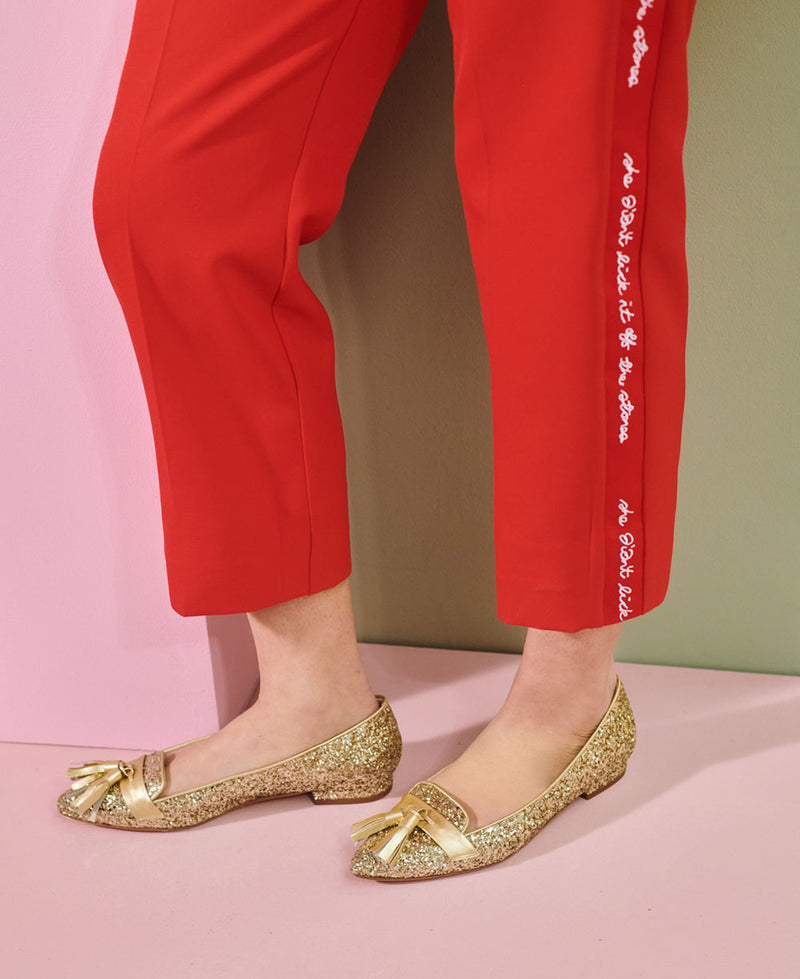 Flat Point Toe Tassel Shoe - Gold Glitter