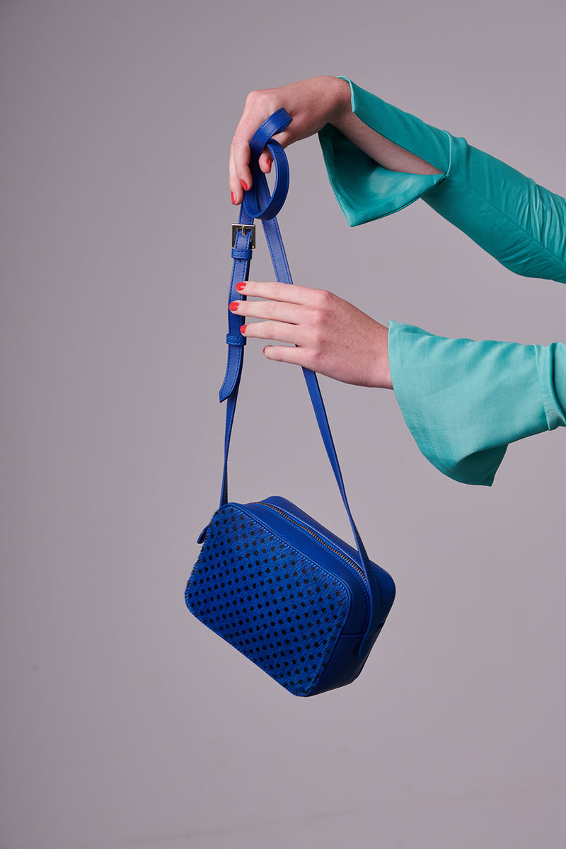 Camera Bag - Blue Polka Dot