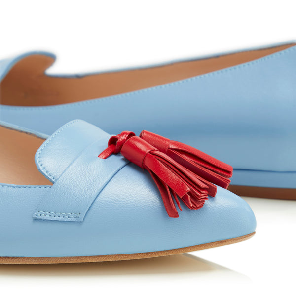 Flat Point Toe Tassel Shoe - Blue & Red Tassel