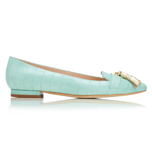 Flat Point Toe Tassel Shoe - Mint Croc & Gold Tassel