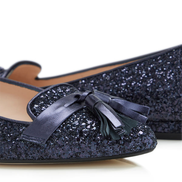 Flat Point Toe Tassel Shoe - Navy Glitter