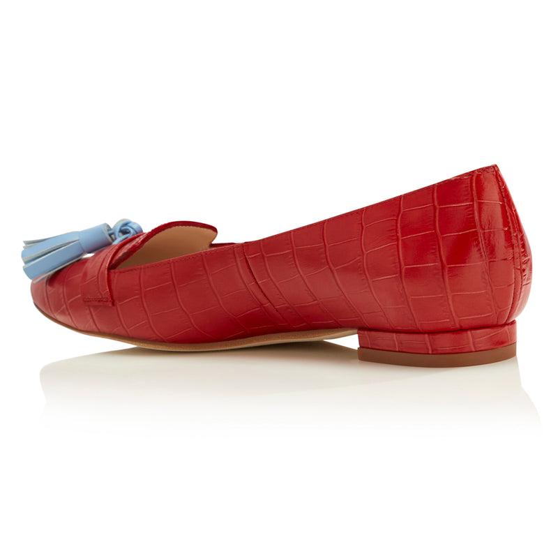 Flat Point Toe Tassel Shoe - Red Croc & Blue Tassel