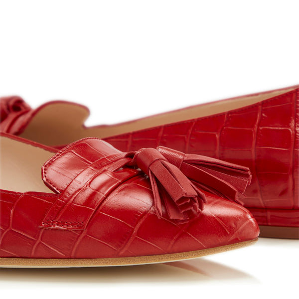 Flat Point Toe Tassel Shoe - Red Croc & Red Tassel