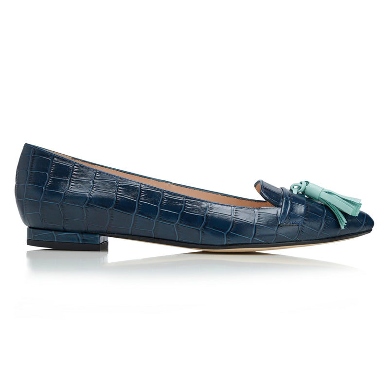 Flat Point Toe Tassel Shoe - Navy Croc Embossed & Mint Tassel