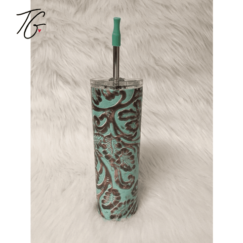 20 oz Tumbler - Leather Look and Teal Design (5796565418136) (6551264526488)