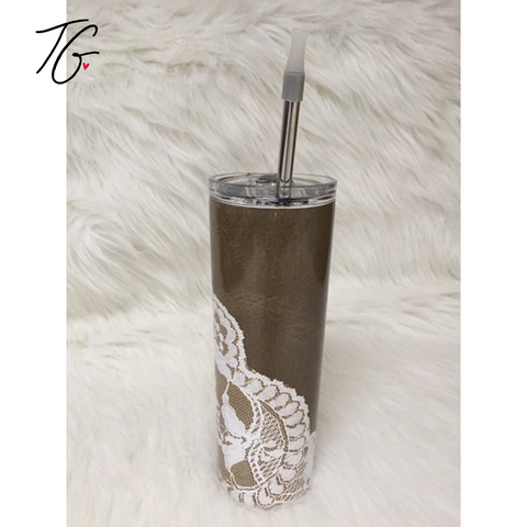 20 oz Tumbler - Leather and Lace Design (5796561715352)