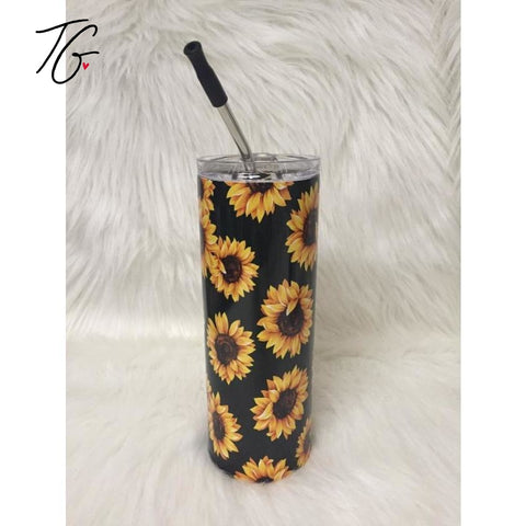 20 oz Tumbler - Sunflower Design Black Background (5796374216856)