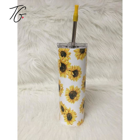 20 oz Tumbler - Sunflower Design White Background (5796381524120)