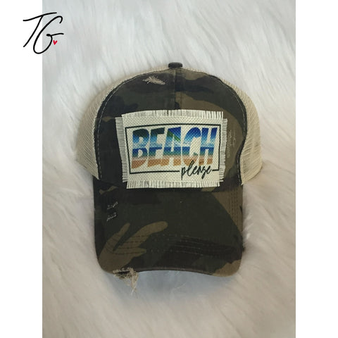 Beach Please Camo Criss Cross Hat (5792132202648)