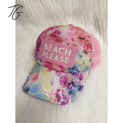Beach Please Pink Flower Hat (5791523373208)