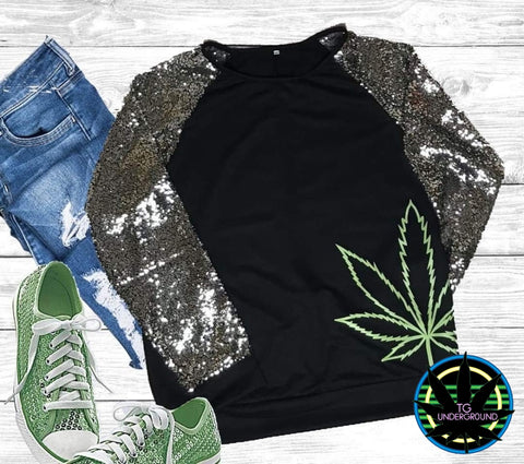Black Sequin Top Pot Leaf (6220816547992)