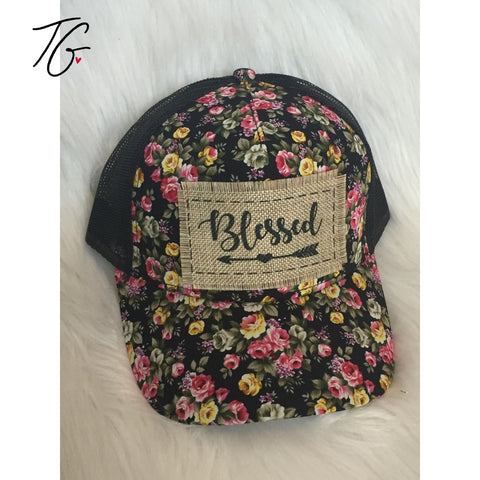 Blessed - Black Background Floral Hat (5795848650904)